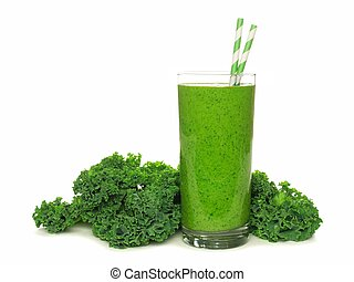 Healthy green smoothie with kale in a glass with straws isolated on white