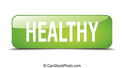 healthy green square 3d realistic isolated web button