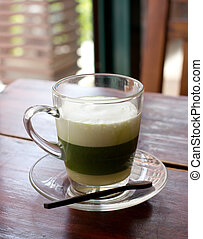 healthy green tea on the table