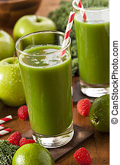 Healthy Green Vegetable and Fruit Smoothi Juice with Apple ...