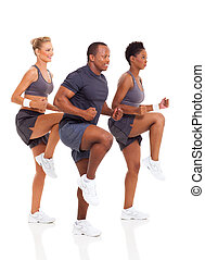 healthy group of people exercise
