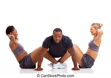 healthy group people exercising
