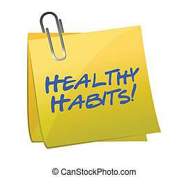 healthy habits post it illustration design over white