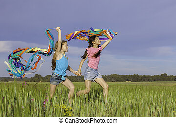 healthy happy kids playing outdoors