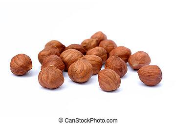 Healthy hazelnut isolated on white background