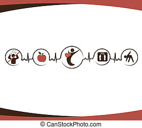Healthy heart and lifestyle symbols