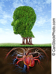 Healthy heart and mind with a tree in the shape of a human head and a heart organ as roots growing under ground representing the medical and health care biological connection between brain intelligence with blood circulation system.