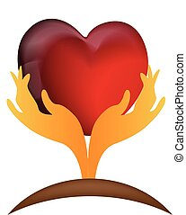 Healthy heart care with hands logo