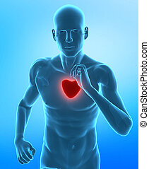 Healthy heart concept - Running man with glowing red heart
