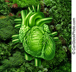 Healthy heart diet with dark leafy green vegetables at a vegetable stand as a health care and nutrition concept for eating natural raw food packed with natural vitamins and minerals good for the human cardiovascular system.