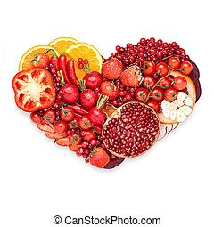 Healthy heart. - Healthy food concept of a human heart made...