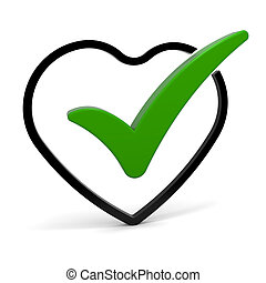 Healthy Heart - Heart symbol with green check mark. Part of...