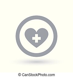 Healthy heart icon. Heart with cross symbol.