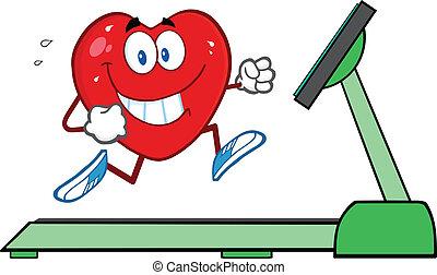 Healthy Heart Running On A Treadmill Illustration Isolated on white