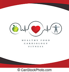 Wellness symbol. Healthy food and fitness leads to healthy heart. White background.