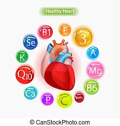 Healthy heart. Vitamins and minerals.