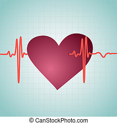 Healthy Heart with cardiogram