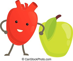 Healthy heart with green apple icon, cartoon style
