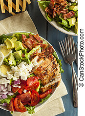 Healthy Hearty Cobb Salad with Chicken Bacon Tomato Onions ...