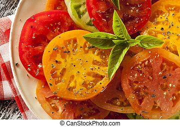 Healthy Heirloom Tomato Salad with Basil and Dressing