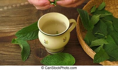 Healthy herb tea prepare. Fresh made Mint Tea