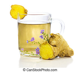 Healthy, herbal tea or infusion, of fresh root ginger, on a white background