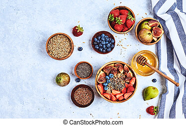 Healthy Homemade Oatmeal with Berries and seeds for Breakfast