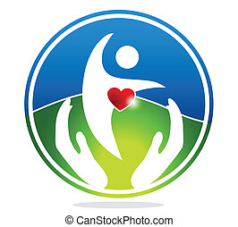 Healthy human and healthy heart symbol. The heart shape...