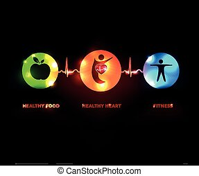 Healthy human concept symbols connected with heart beat line