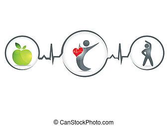 Healthy human - Wellness and healthy heart symbol Healthy...