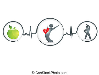 Healthy human - Wellness and healthy heart symbol Healthy...