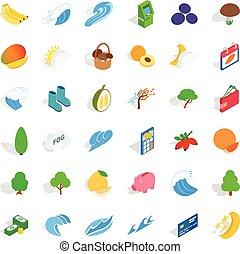 Healthy icons set, isometric style