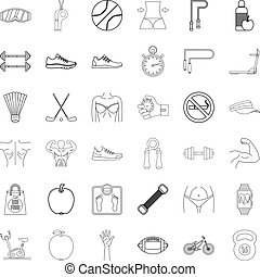 Healthy icons set, outline style