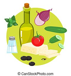 Healthy ingredient for tasty food. Cucumber and olive oil