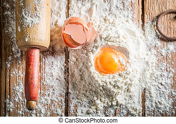 Healthy ingredients for pasta with eggs and flour