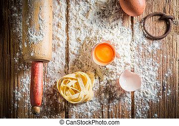Healthy ingredients for pasta with flour and eggs
