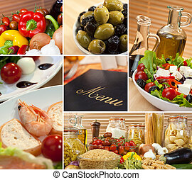 Montage macro photographs of a fresh and healthy Italian Mediterranean food menu salad fresh prawns pasta cheese olives & olive oil