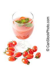 Healthy juice for good health, tomato juice in glass