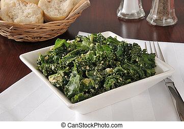 Healthy kale salad - A healthy kale salad with cashews, ...