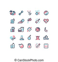 Healthy life and fitness vector line icons