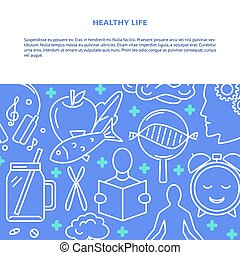Healthy life concept background in line style with text