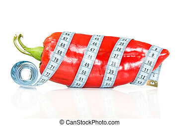 big pepper with a measure tape