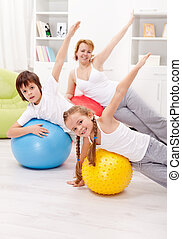 Healthy life concept with exercising people