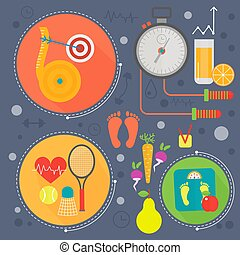 Healthy life flat concept vector illustration. Sport, fitness gym and healthy food icos design, web elements, poster banners.