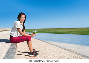 Healthy life green smoothie fitness runner woman