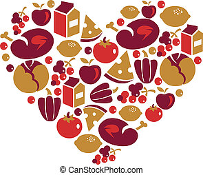 Healthy life - heart shape with vector food icons