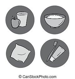 healthy life icons set.