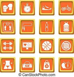 Healthy life icons set orange