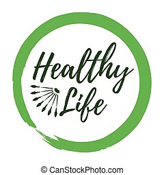 Healthy Life label. Eco style and Wellness Lifestyle badges. Vector illustration icon with Sunburst