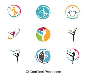Healthy Life Logo template vector icon - Human character...